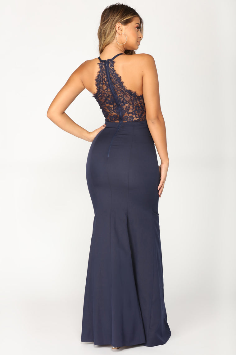 Wonderful World Lace Dress - Navy