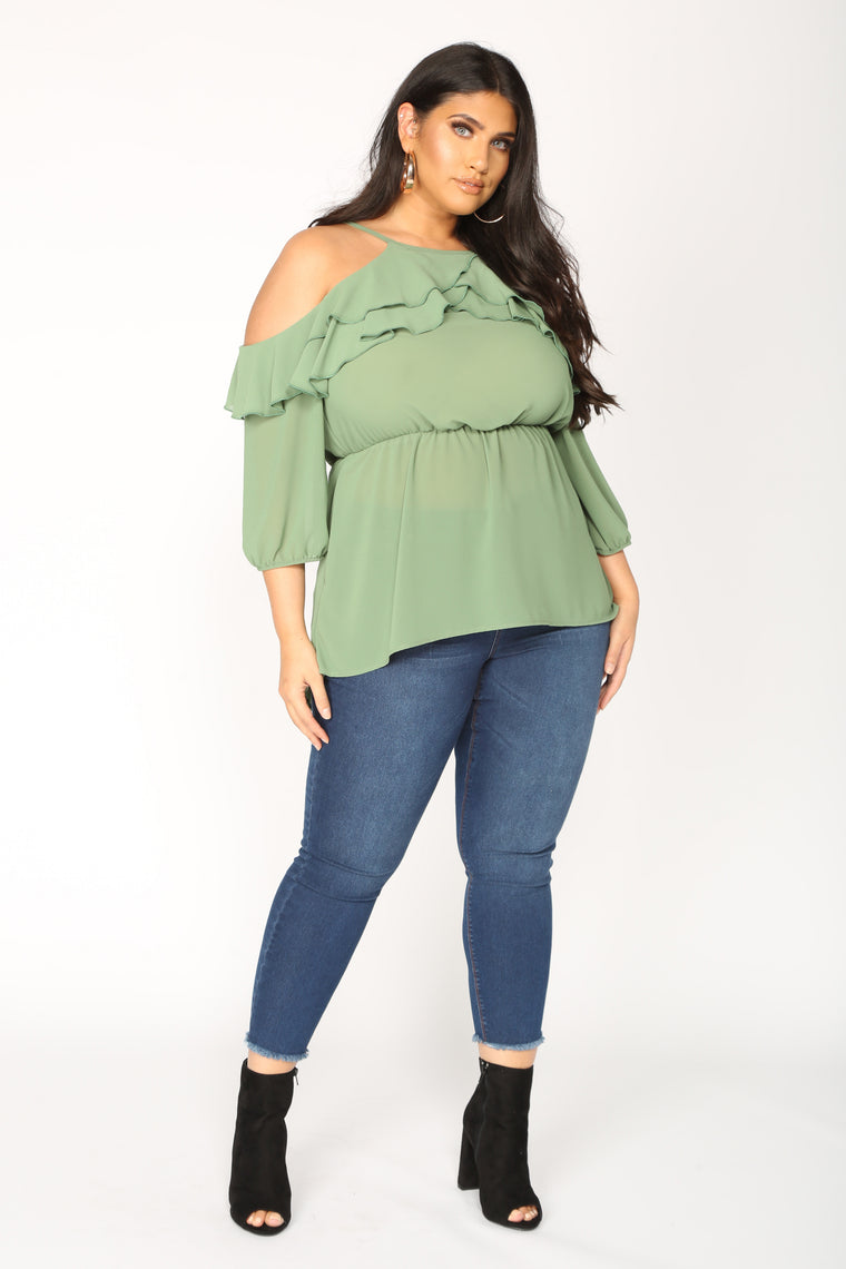 All Expenses Paid Ruffle Top - Sage