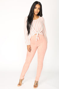 Shantel Striped Top - Ivory/Pink