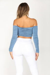 Miss Nicky Crop Top - Denim Blue