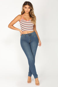 Stardust Striped Crop Top - Coral