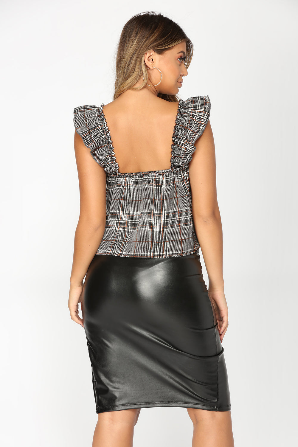 Elliana Plaid Top - Black/White