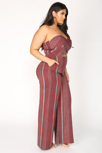 Shanice Stripe Jumpsuit - Red