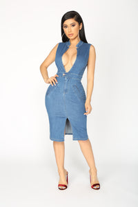 Word On The Street Denim Dress - Dark