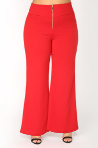 Sandra High Rise Pants - Red