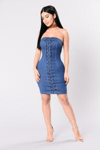 Hey Pretty Boy Dress - Medium Wash