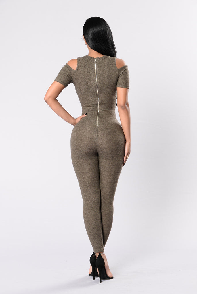 Up And Down My Spine Jumpsuit - Olive