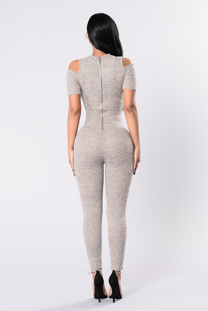 Up And Down My Spine Jumpsuit - Sand