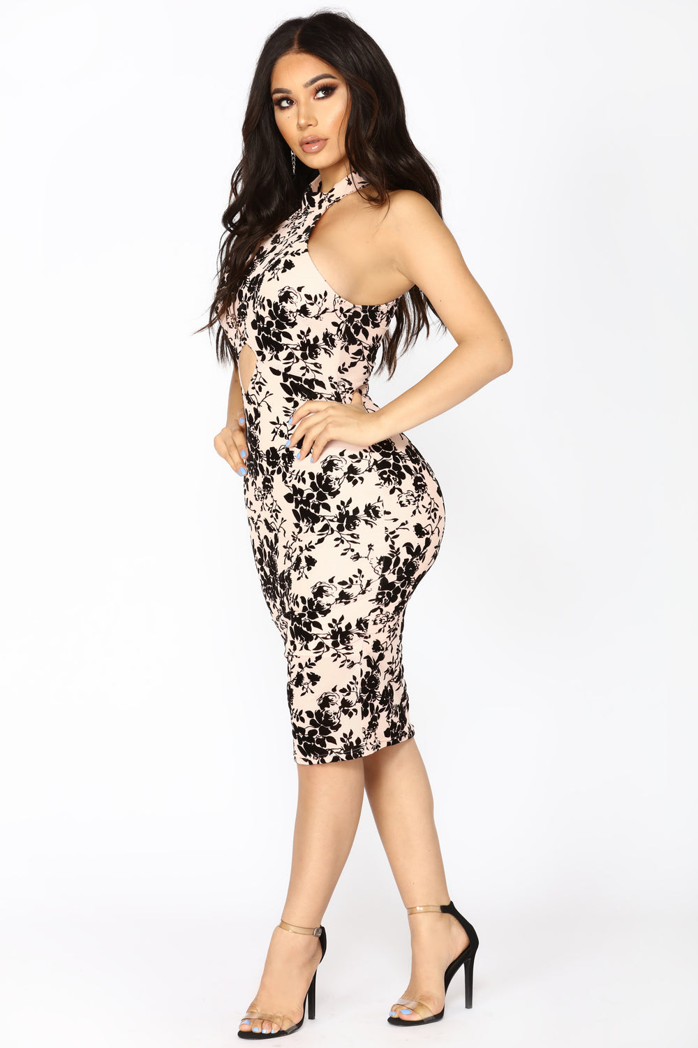 Believing In You And Me Midi Dress - Nude/Black