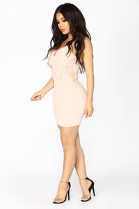Fix Me A Cocktail Midi Dress - Pink Nude