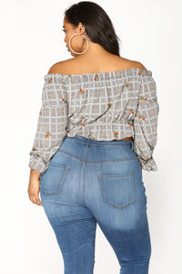 Jenna Off Shoulder Top - Black/Multi