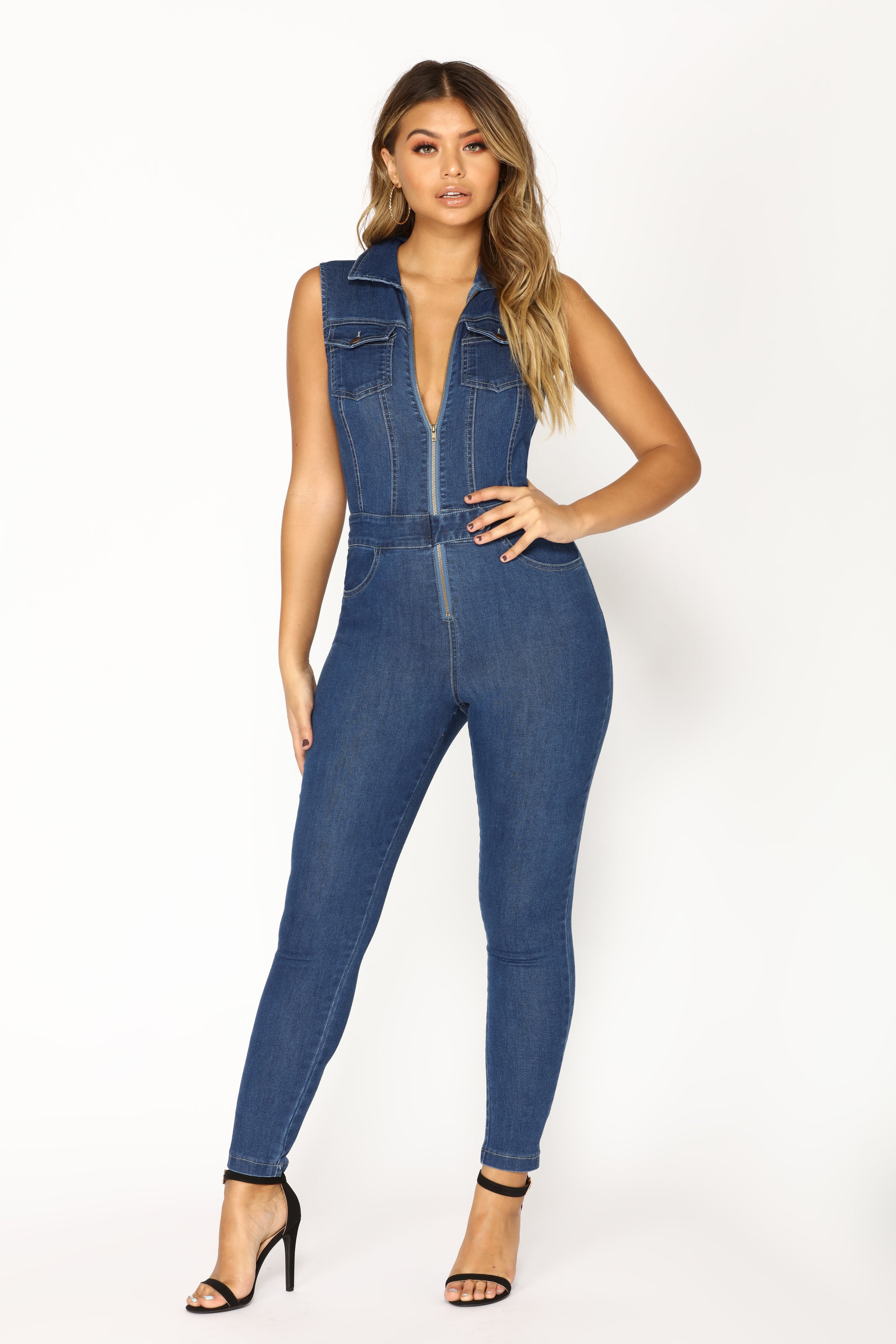 4fe68c97b1f Hold Me By The Heart Denim Jumpsuit - Dark
