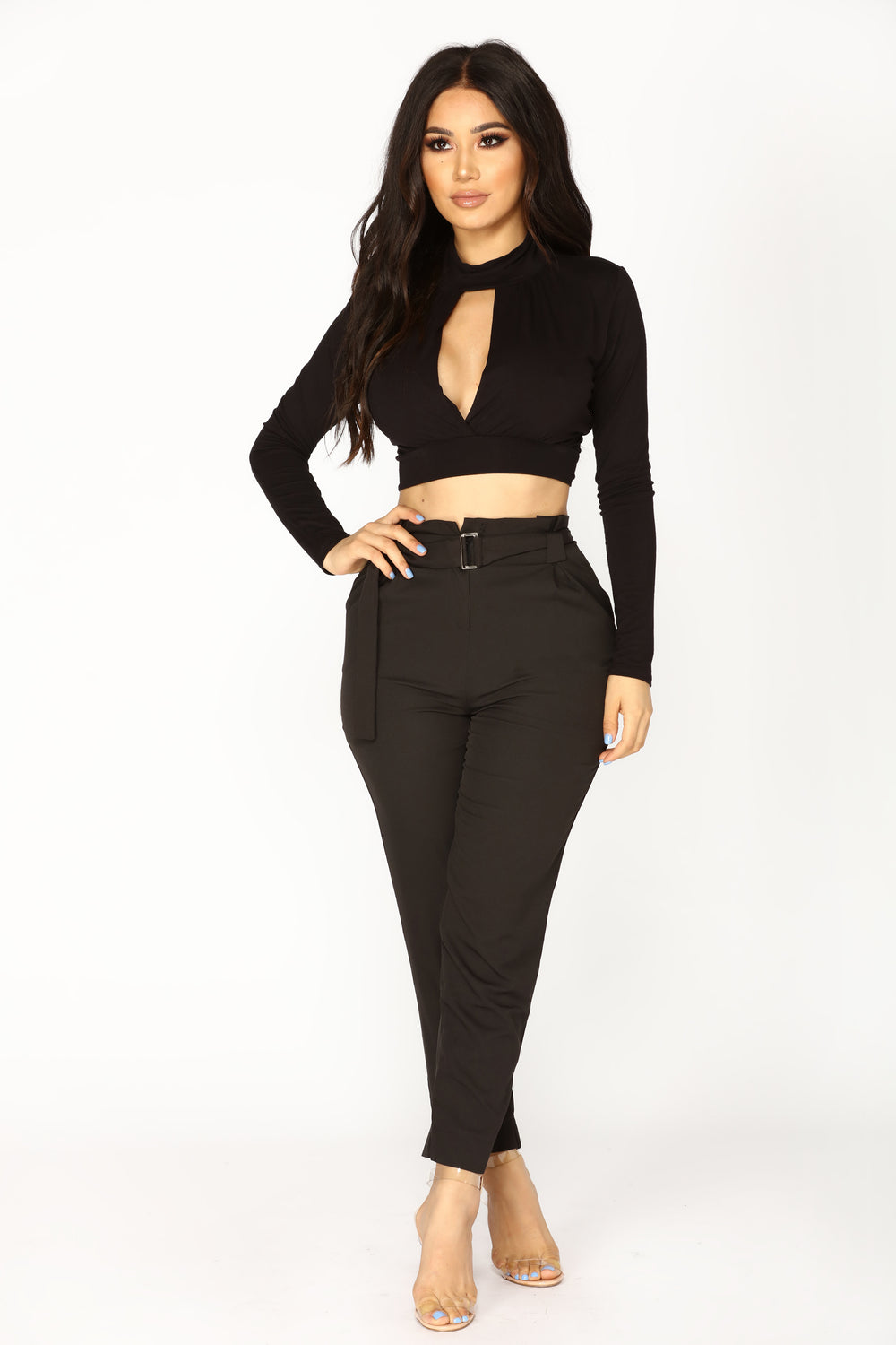 Aleeza Long Sleeve Top - Black