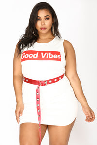 Good Vibes Belted Dress - Off White
