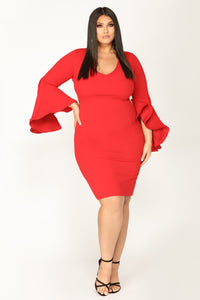 Take Your Lady Out Midi Dress - Red