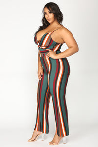 Musical Transaction Stripe Jumpsuit - Multi