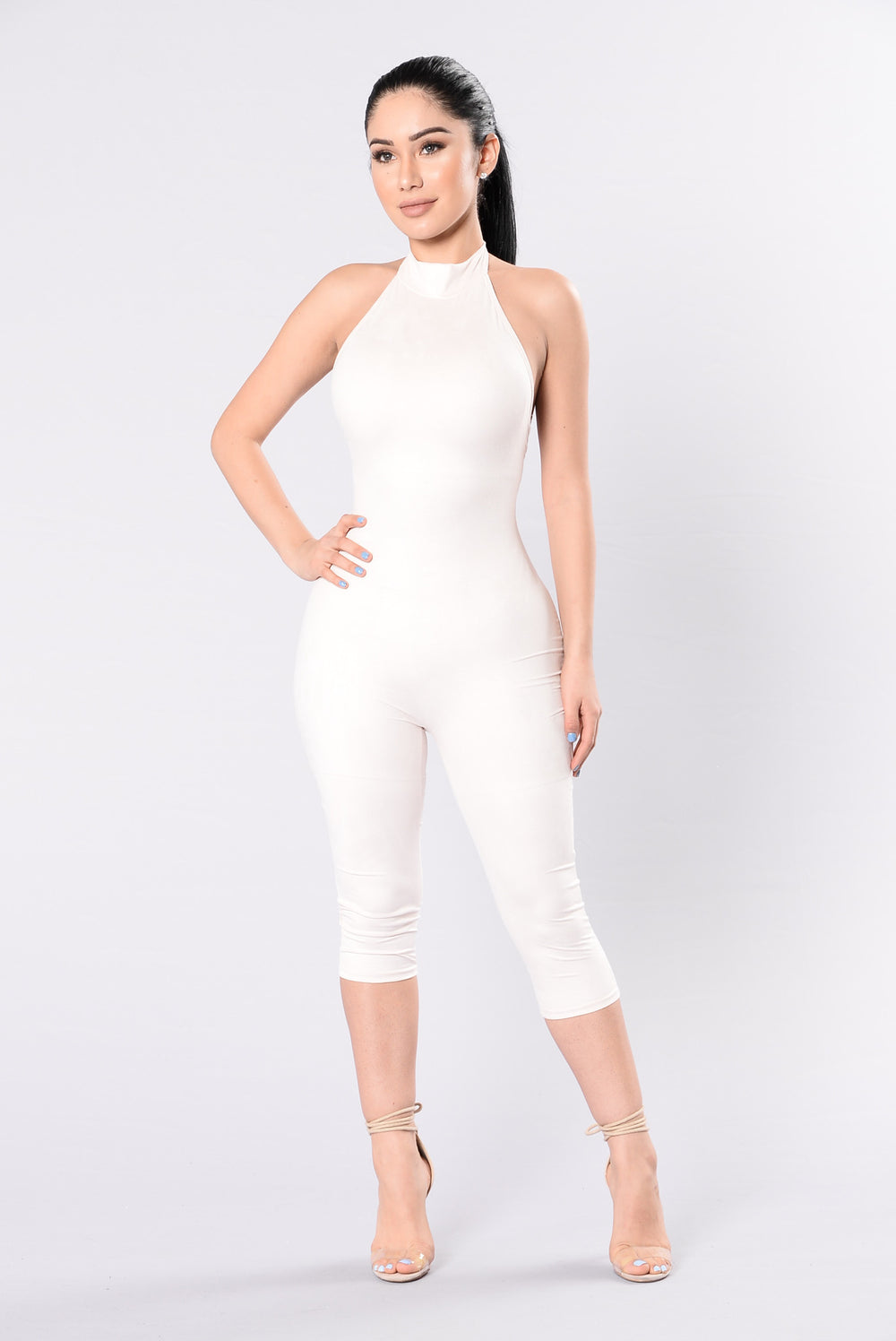 Shattered Glass Jumpsuit - Nude