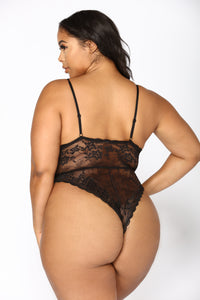 Sweet Devotion Lace Teddy - Black Angle 6