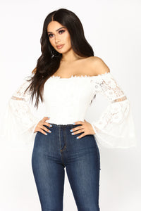 Festie Bestie Bell Sleeve Top - White