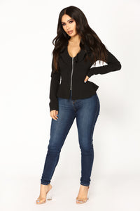Romantic Thoughts Ruffle Jacket - Black