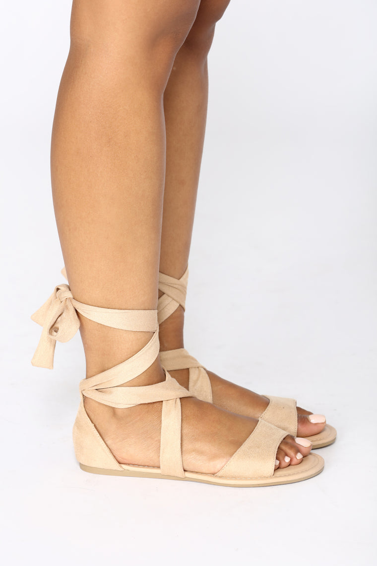 Ankle Wrapped Sandal - Natural