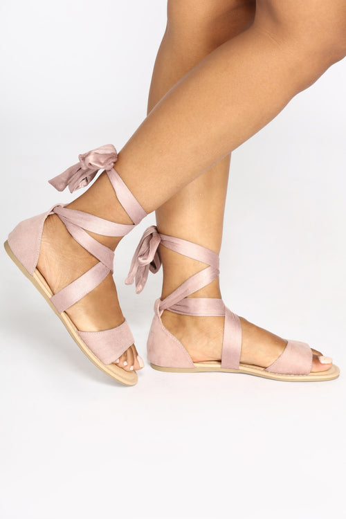 Ankle Wrapped Sandal - Mauve