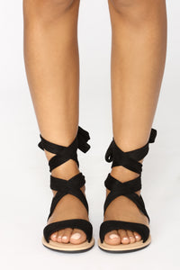 Ankle Wrapped Sandal - Black Angle 4