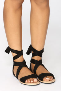 Ankle Wrapped Sandal - Black Angle 1