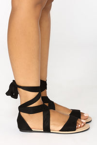 Ankle Wrapped Sandal - Black Angle 3