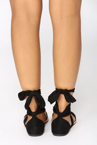 Ankle Wrapped Sandal - Black Angle 5
