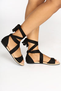 Ankle Wrapped Sandal - Black Angle 2