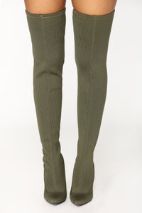 Olivia Over The Knee Boot - Olive