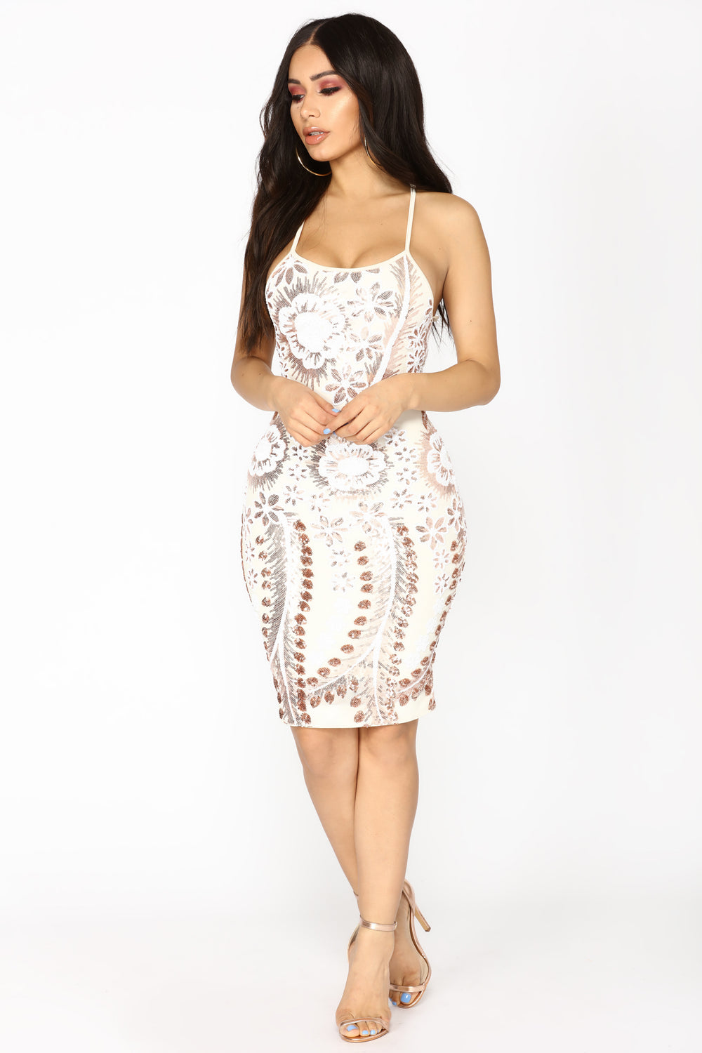 Horoscope Sequin Dress - Ivory