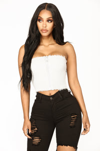Zipper Up Crop Top - Silver