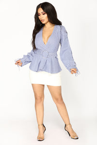 Remember Me Belted Top - Blue/White