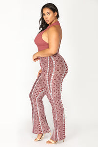 Molly High Rise Printed Pants - Red/White