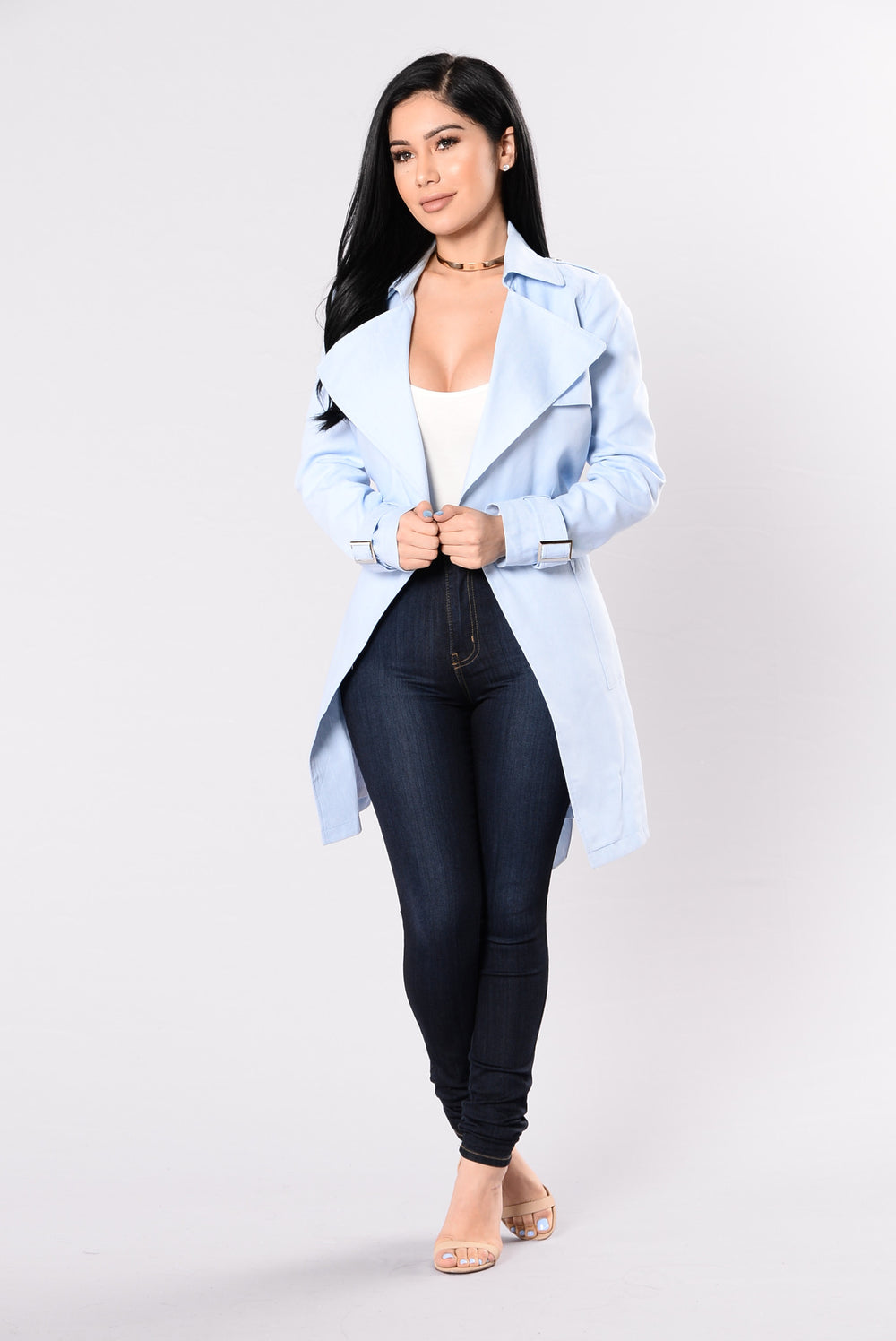 Trenched In Style Jacket - Light Denim