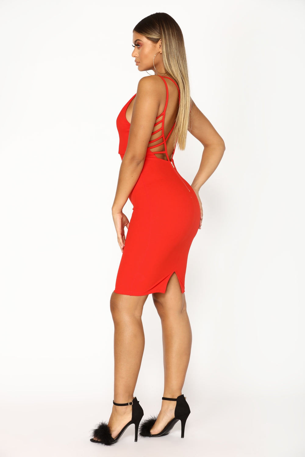 Lost In Your Light Midi Dress - Red