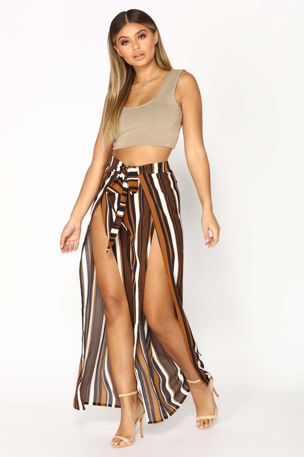 Draw The Line Striped Pants - Bronze