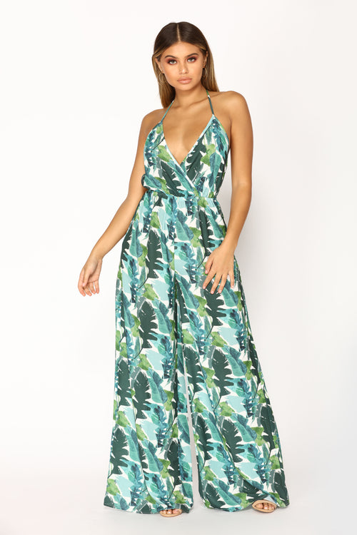 Palm Avenue Tropical Jumpsuit - Green