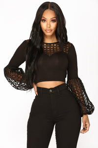 Lily Bubble Sleeve Top - Black