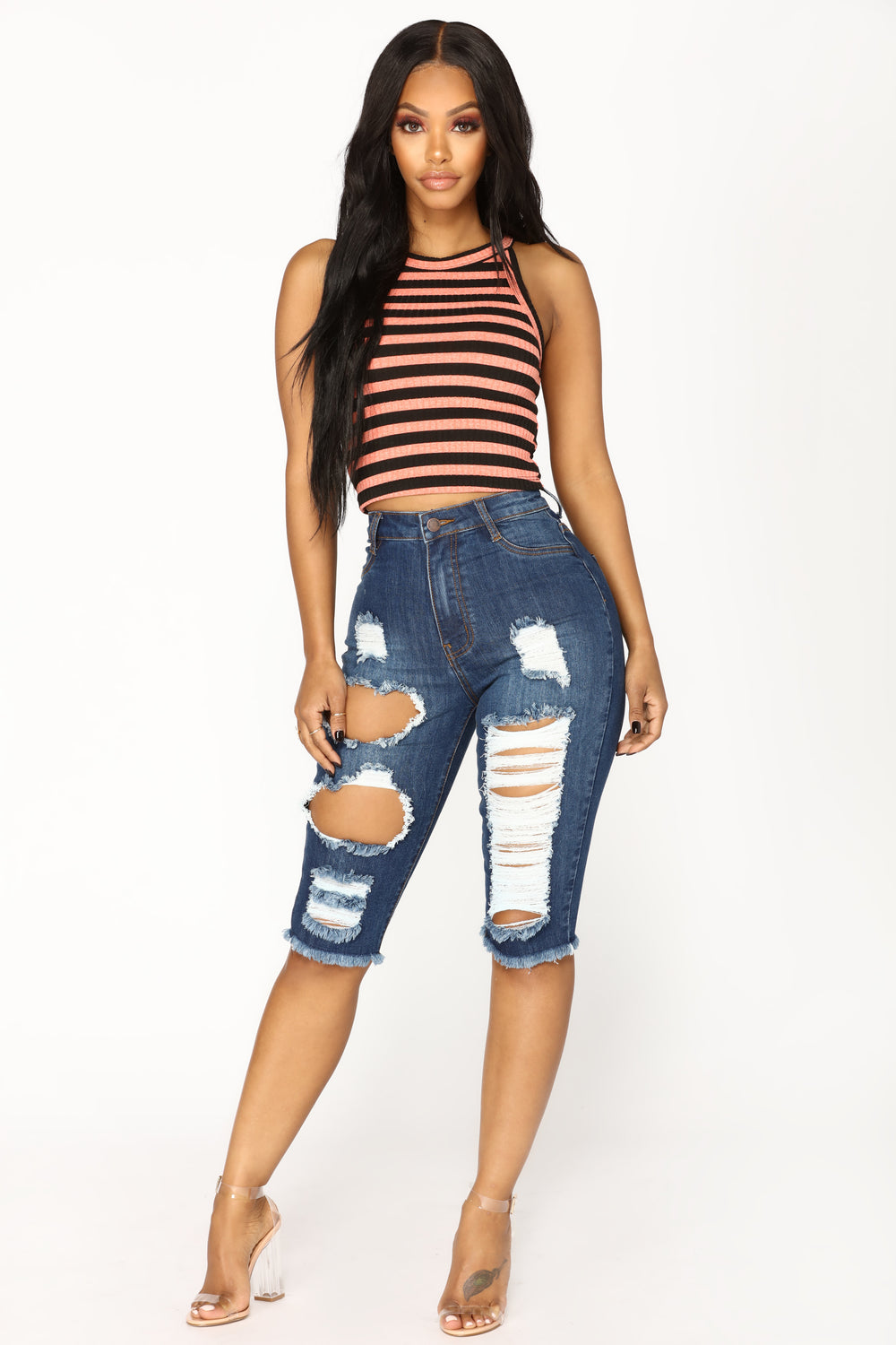 Dress You Up Striped Crop Top - Pink/Black