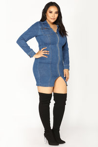 Street Talk Denim Dress - Dark Angle 7