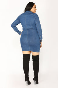 Street Talk Denim Dress - Dark Angle 8