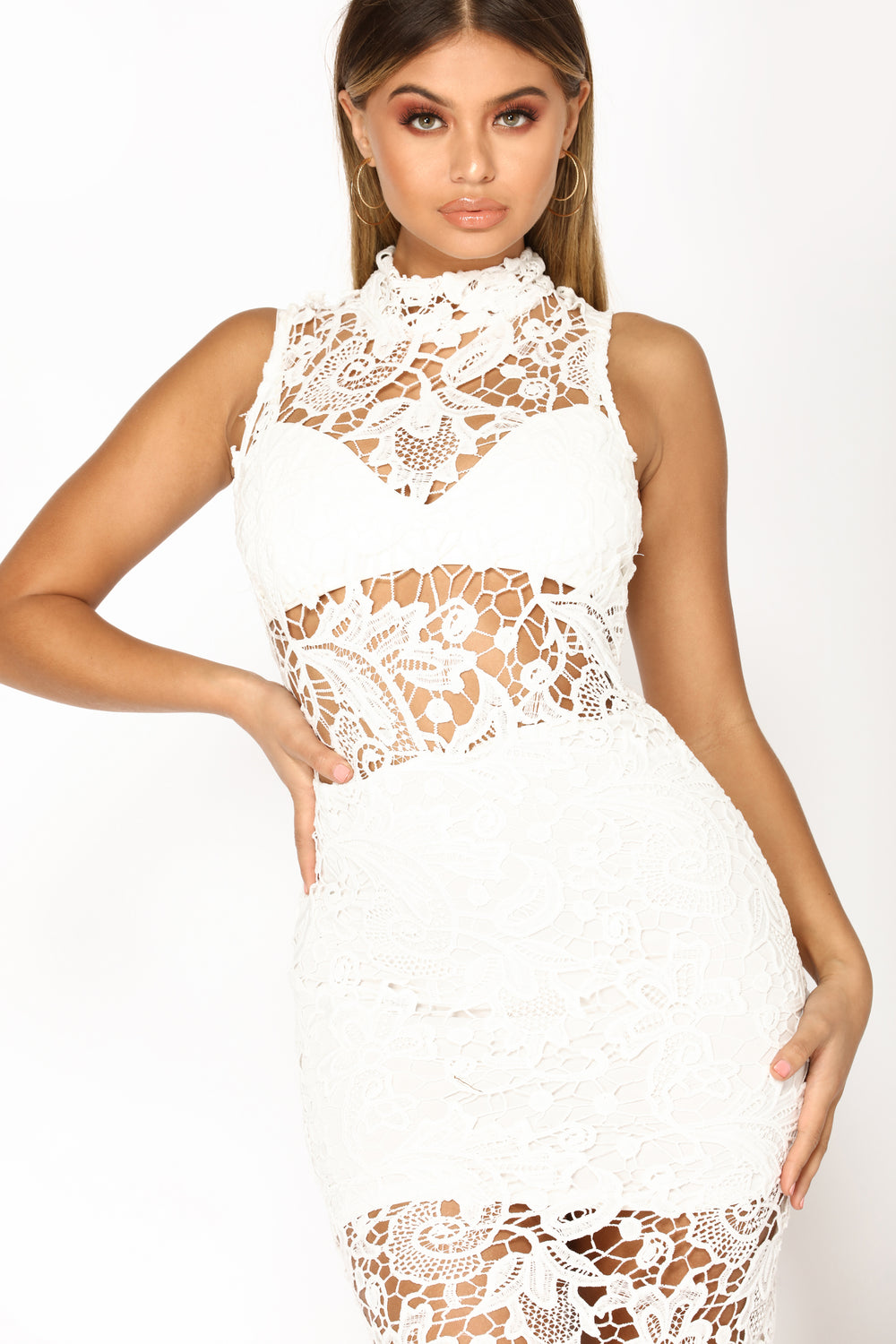 Fix Me A Drink Crochet Dress - White