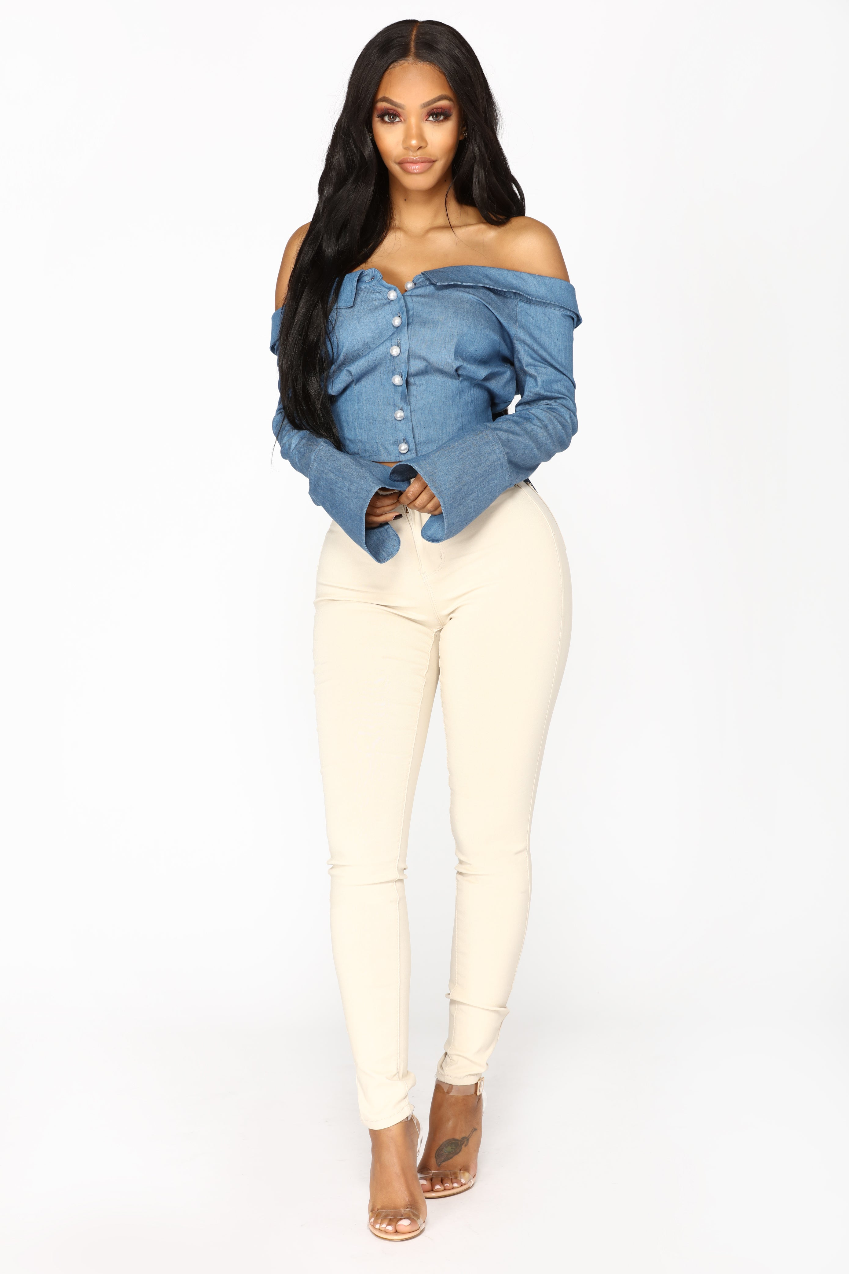 d9d854fe7e01 Pearl perfection off shoulder top denim JPG 2779x4168 Off shoulder top jeans
