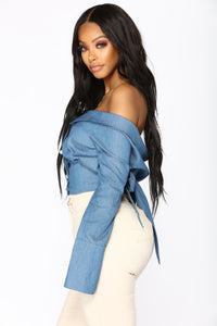 Pearl Perfection Off Shoulder Top - Denim