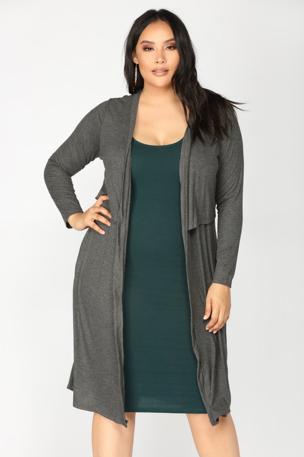 Ali Ribbed Cardigan - Grey