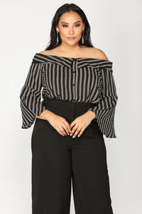 Bel Air Off Shoulder Top - Black/Ivory