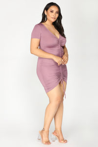 Lhasa Ruched Dress - Lavender Angle 8